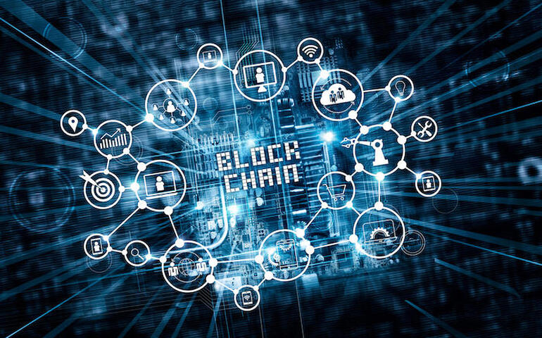 Blockchain technology and network concept. Block chain text and icon network connection on motherboard microcircuit fast speed background