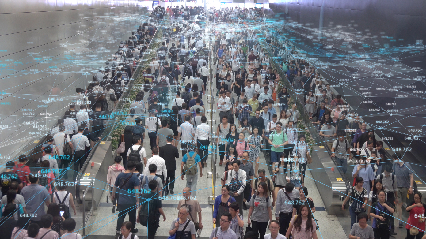 networking Connection and communication Concept with Crowd commuters of pedestrian commuters on train station at Hong Kong station.Internet of Things and Big data concept